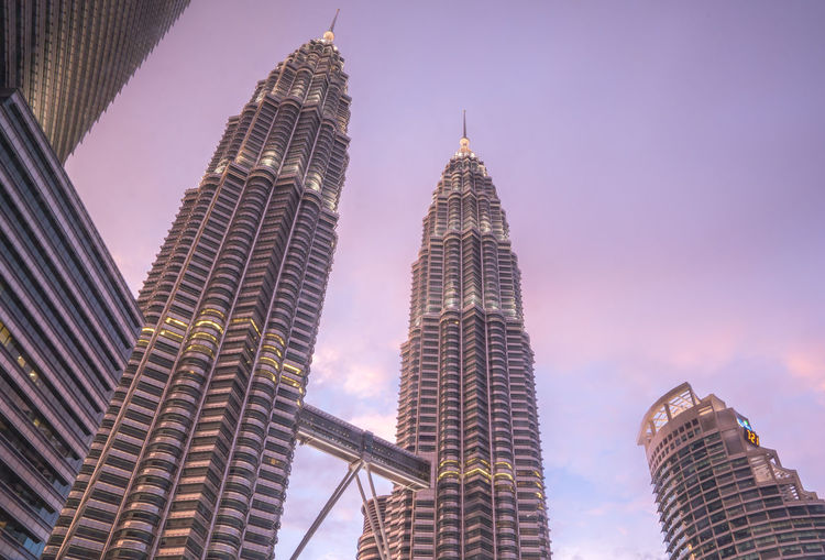 Low angle view of petronas towers