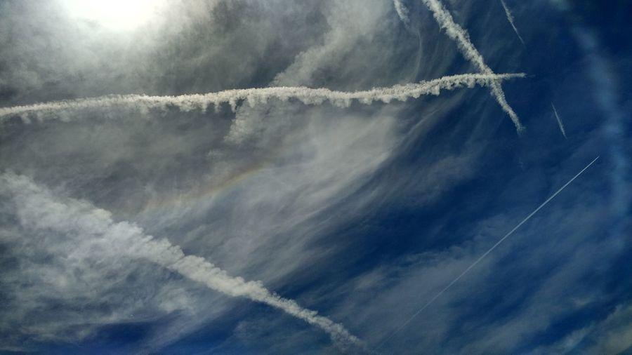 Vapor trail in sky