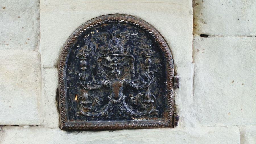 Close-up of sculpture in temple