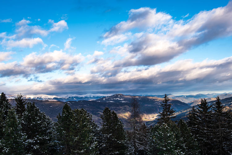 Copy Space Snowcapped Mountain Outdoors Mountain Range Nature Mountains Sky Landscape Tree Winter Snow Clouds And Sky Tranquility Pine Mountain Plant Environment Pine Tree Cloudscape Beauty In Nature No People Non-urban Scene Cloud - Sky Cold Temperature Scenics - Nature