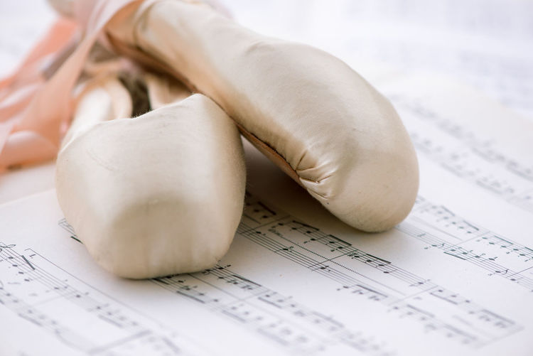Close-up view of ballet shoes