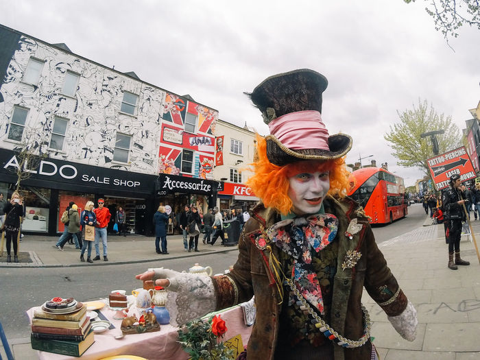 Adults Only Alice In Wonderland Camden Town Day Great Britain London London Lifestyle LONDON❤ Mad Hatter Mad Hatter Tea Party My Year My View One Person People Red Hair Red Head Sky Traditional Clothing EyeEm LOST IN London Postcode Postcards This Is Masculinity