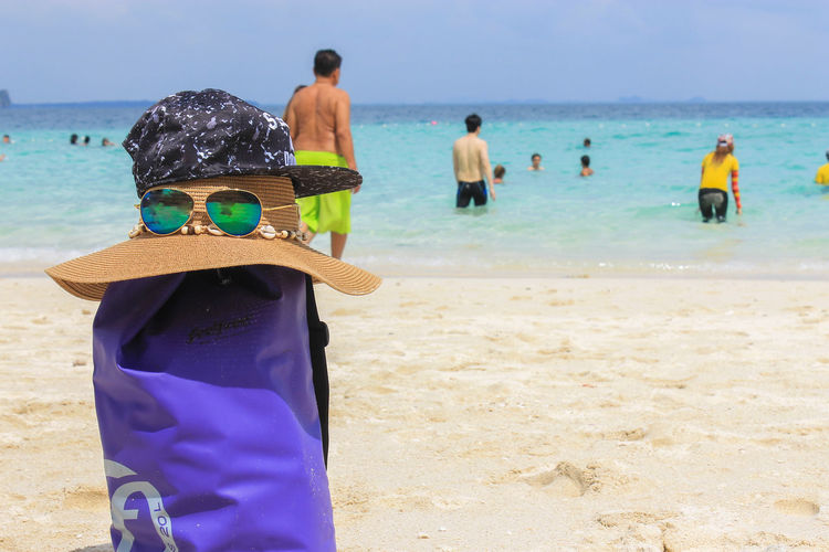 Beach Krabi Krabi Thailand Adult Beach Childhood Clothing Holiday Horizon Over Water Land Leisure Activity Lifestyles Men Nature People Real People Rear View Sand Sea Sun Hat Trip Vacations Water Women