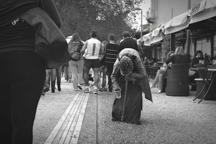 The Homeless Woman | The Homeless Condition Greece Crisis Street Photography Black And White People Capture The Moment Old Woman Urban Exploration Documentary The Street Photographer - 2016 EyeEm Awards The Photojournalist - 2016 EyeEm Awards