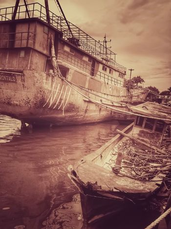 Broken and Docked. Transportation Nautical Vessel Sky Outdoors Water Day No People Nature Sepia IPhoneography