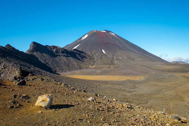 Scenic view of mount ngauruhoe in tongariro national park against blue sky