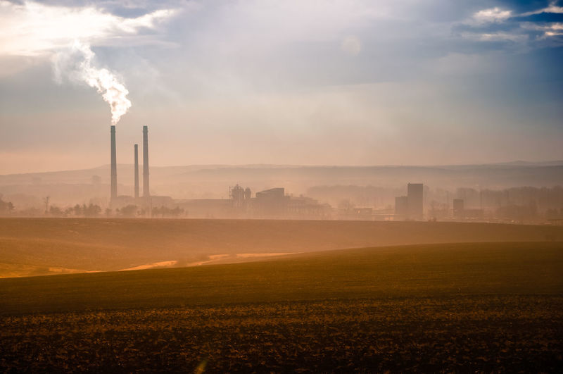 Built Structure Industry Pollution Nature Sky Factory Field Cloud - Sky No People Outdoors Air Pollution Day Fumes Architecture Environmental Issues