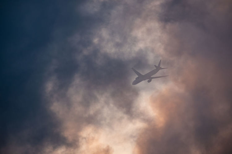 Low angle view of silhouette airplane flying in sky