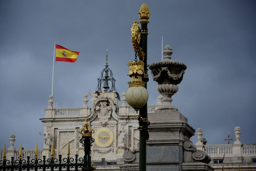 SPAIN Palace Monarchy Gold Gold Details Nikon Nikonphotography Nikon D5200 Cityscape City Life Destinations Capital Cities  Flag Travel Destinations Arts Culture And Entertainment Sky History No People Outdoors Architecture Politics And Government King - Royal Person Day Statue