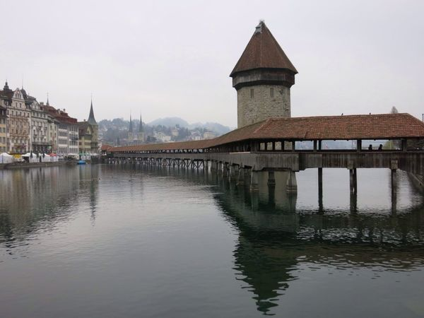 Lake Lake Lucerne Bridge Chapel Bridge Water Switzerland Tourism Lucerne