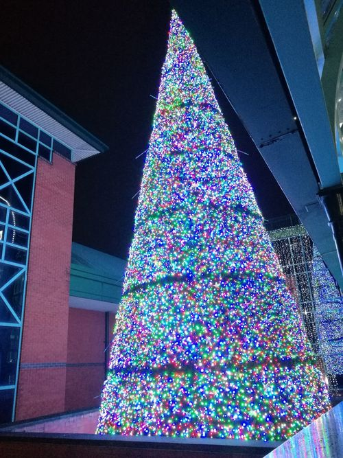 Multi Coloured Indoors  Outdoors No People Built Structure Celebration Low Angle View Sky Architecture Night Christmas Lights Christmas Tree Singing Christmas Tree Magical 13 Sleeps Christmas Shopping Sheffield MeadowHall Wow Factor Breathtaking Show Stopper Flashing Lights No Filters Or Effects