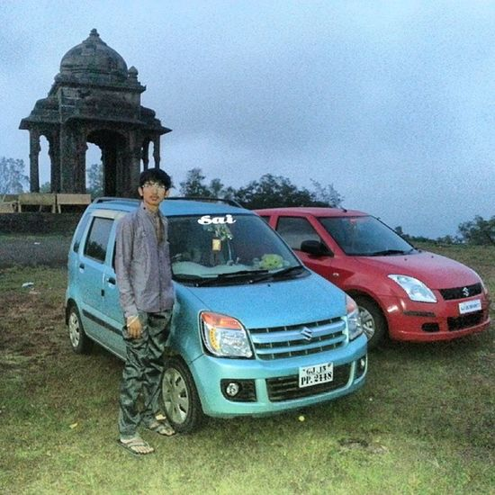 "Villson -hill Dharampur Gujarat Very rainning weather Me My Car My uncle""s car wagno-r swift sky blue red green grass Evening time instabeauty instalike instashare instacool instaforward"