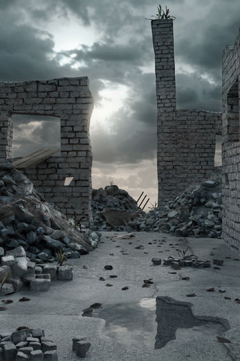 damaged street with pile of rubble and leftover brick walls in the evening sunlight Pile Of Rubble Debris Building Architecture Damaged Abandoned Ruined Puddle War Wall Destroyed Collapse Broken Brick Street Sunlight Rubble Backgrounds Concrete Dramatic Epic