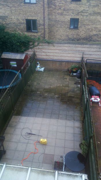 Jetwashing patio of two halves,one Winter one Summer💛