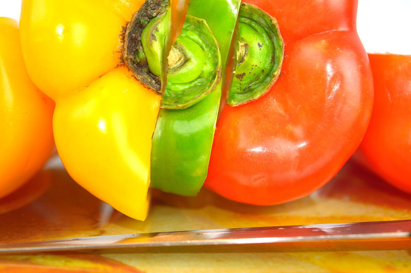 Types of Bell Pepper - Yellow, Green and Red - cut in three pieces and put together Bell Pepper Cooking Flavor Fresh Green Food Healthy Eating Ingredient Pieces Raw Red Food Yellow Food Neon Life