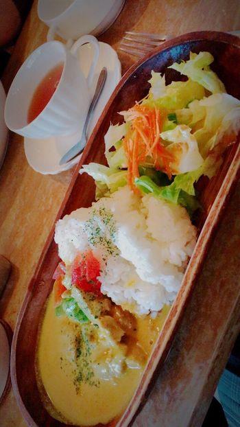 お昼ゴハン。 Food And Drink Lunch Chickens Asparagus Creamed Curry Vegetables Darjeeling Hottea ☕