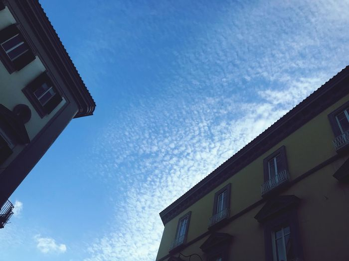 Sky between the buildings Naples Sky Architecture Building Exterior Low Angle View Built Structure Building Cloud - Sky Residential District No People Sunlight City