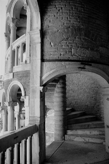 Ancient Arch Architectural Column Architecture Blackandwhite Building Exterior Built Structure Day History Low Angle View No People Outdoors Place Of Worship Staircase Of The Bovolo.Venice. The Architect - 2017 EyeEm Awards