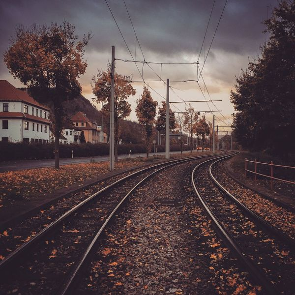 Autumn Railroad Track Transportation Rail Transportation Tree Railway Track Sky Cable Electricity Pylon No People Power Line  Track The Way Forward Railroad Day Electricity  Built Structure Cloud - Sky Outdoors Railway Architecture