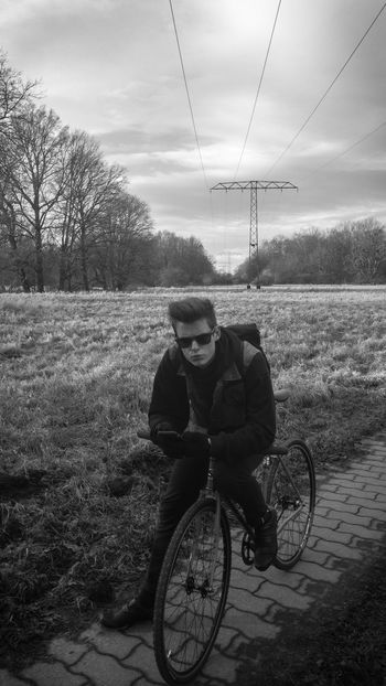 Fixed Gear Fixie Fixed Gear One Person Real People Sky Field Tree Transportation Day Lifestyles first eyeem photo