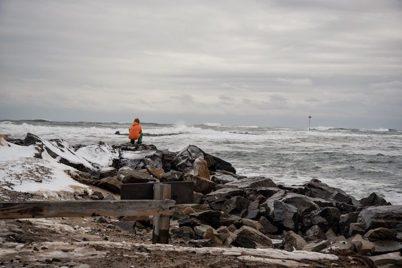Solitude Coast Seaside Winter Nature_collection People Of The Oceans EyeEm Best Shots EyeEm Nature Lover Nikon D750 Beachphotography Weather Beach Hampton Beach New Hampshire Landscape Person Cloudy Waves Waves Crashing Water_collection Ocean Waterfront Storm Coastline Stormy Weather