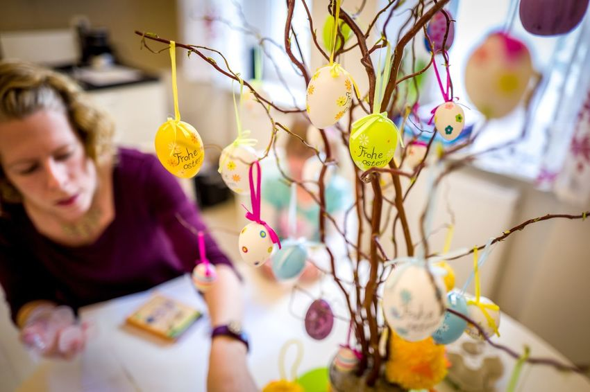 Multi Colored Indoors  Day People Easter Easter Eggs Easter Tree Real People Adult Single Person Woman Kitchen EyeEm Best Shots