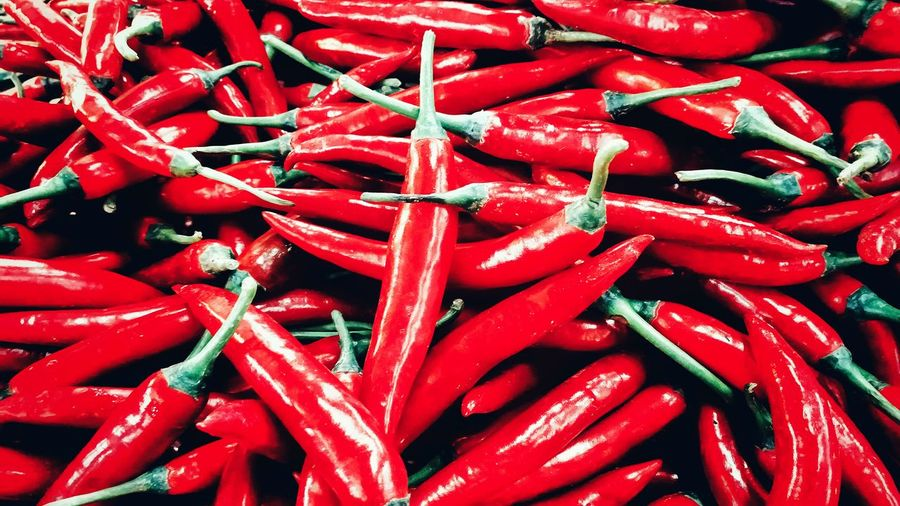 Full frame shot of red chili peppers