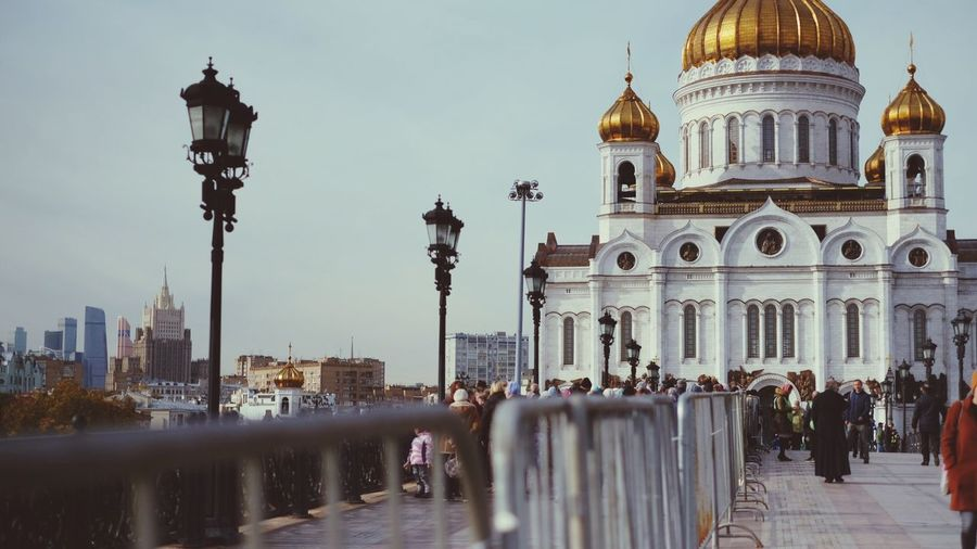 Orthodox pilgrims go to church Orthodox Church Pilgrims Orthodox Pilgrims Architecture Built Structure Building Exterior Building Sky City Travel Destinations Religion Group Of People Outdoors Travel Street Spirituality