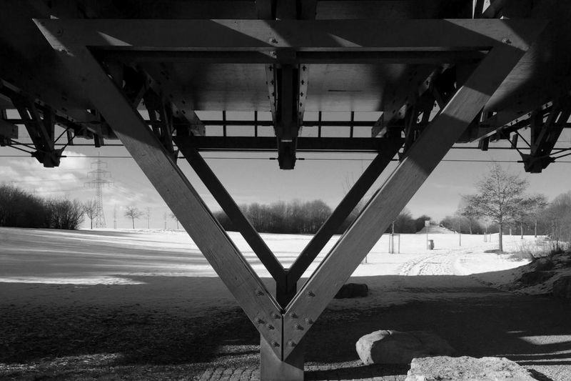 Under the Bridge Black & White Wintertime Light And Shadow Monochrome Architecture Symmetry IPhoneography Balancing Act IPSShadows