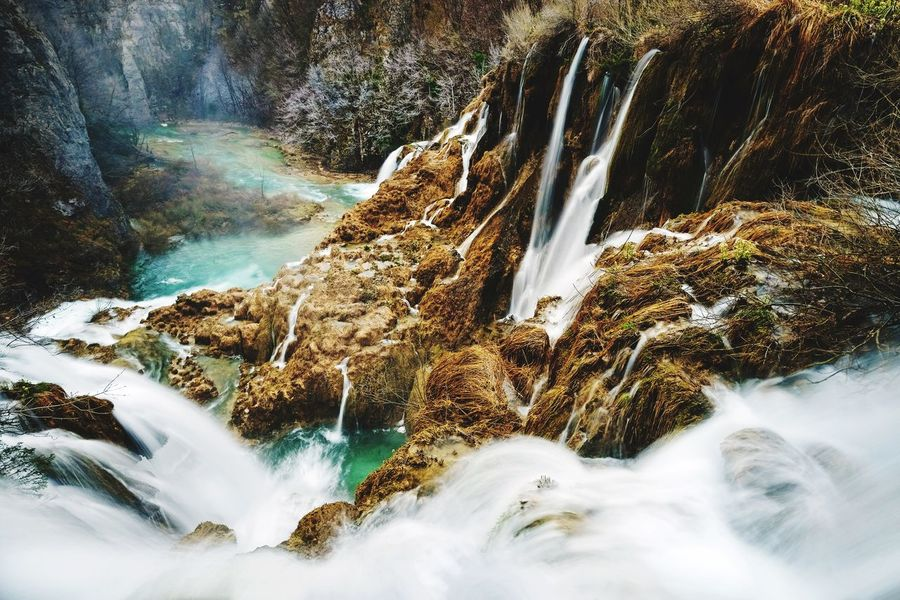 Waterfalls at Plitvice Lakes Plitvice National Park Croatia Water Motion Beauty In Nature Aquatic Sport Scenics - Nature Nature Long Exposure No People Splashing Flowing Water Power In Nature Falling Water Flowing Waterfall