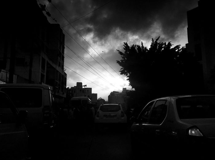 City Life Outdoor Black & White Land Vehicles Cloudy Evening Transportation & Sky Sunset Time Beautiful Nature City Street IPhone 6s Monochrome