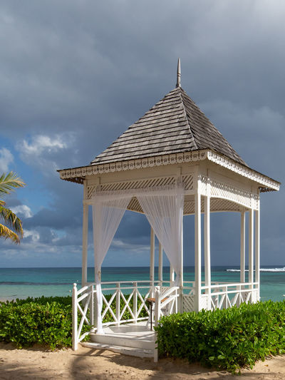 Outdoor pagoda for wedding ceremonies Tranquil Scene Marriage  Pagoda Outdoors Beach Caribbean Wedding White Tranquility Ceremonial Curtains