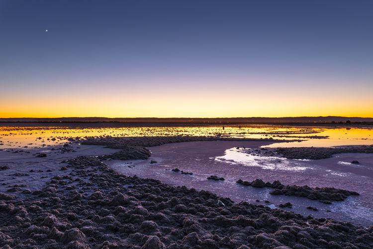 Salt Lake Water Sky Sunrise No People Reflection Tranquility Land Landscape
