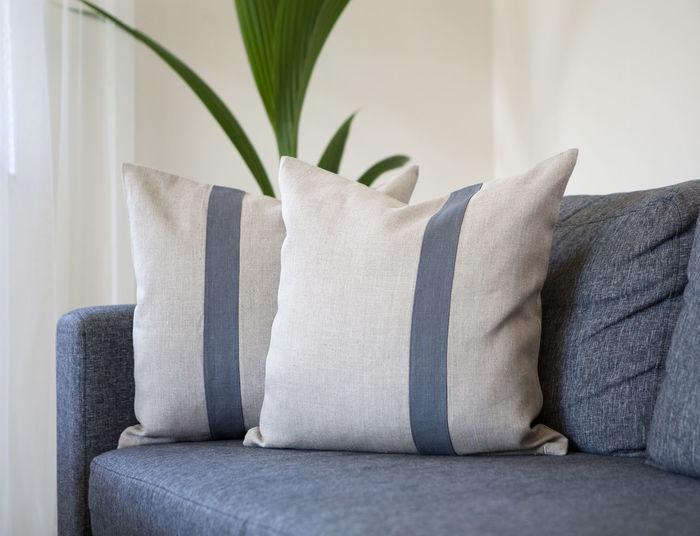 Cushions on sofa at home