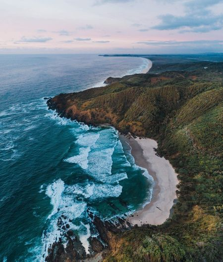 The stunning coast line of Broken Head Visitaustralia Australia Travel Landscape Golden Hour Sunrise Aerialphotography Dronephotography Ocean Coastline Coast Line  Byron Bay Broken Head Beach Cliffs Water Sea Beauty In Nature Land Beach Sky Scenics - Nature Nature Cloud - Sky High Angle View Horizon Over Water Outdoors My Best Photo