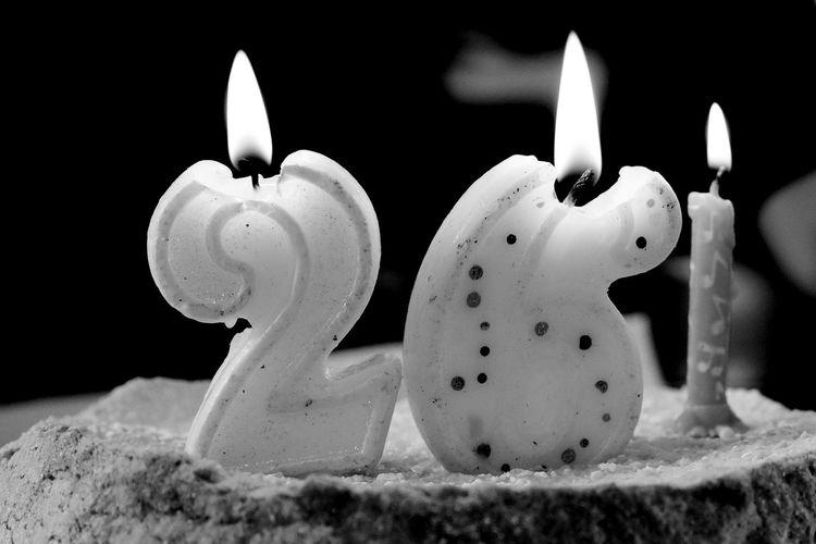 Candle Close-up No People Flame Burning Black Background Birthday Birthdaycake Black And White Blackandwhite Photography Blackandwhite