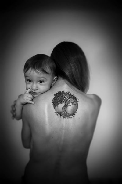 Childhood Close-up Day Human Back Indoors  Lifestyles Maternal Maternal Love Protective Mother Real People Rear View Shirtless Standing Tattoo Togetherness Two People The Week On EyeEm Black And White Friday