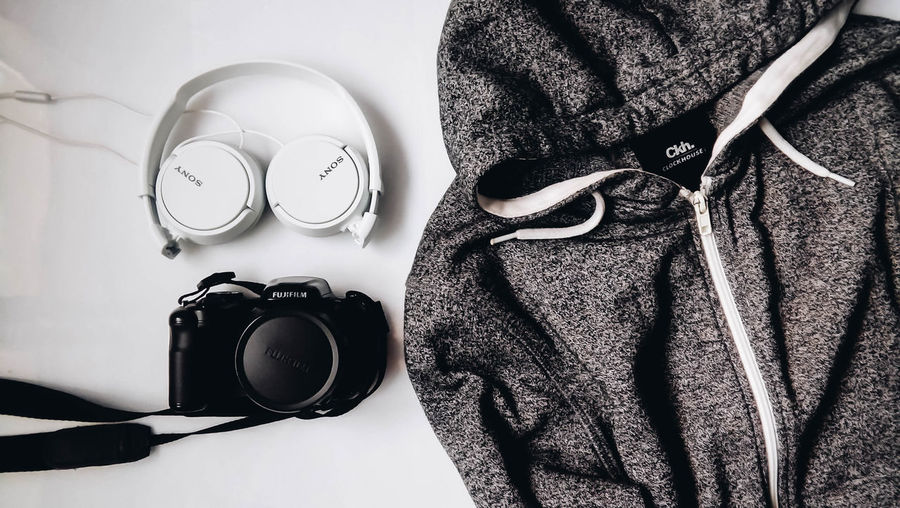 Camera Desktop Music Setup Tech Clockhouse Close-up Clothing Brand Day Hoodie Indoors  Minimal Minimalism One Person People Sony Technology Technology Photography Wallpaper