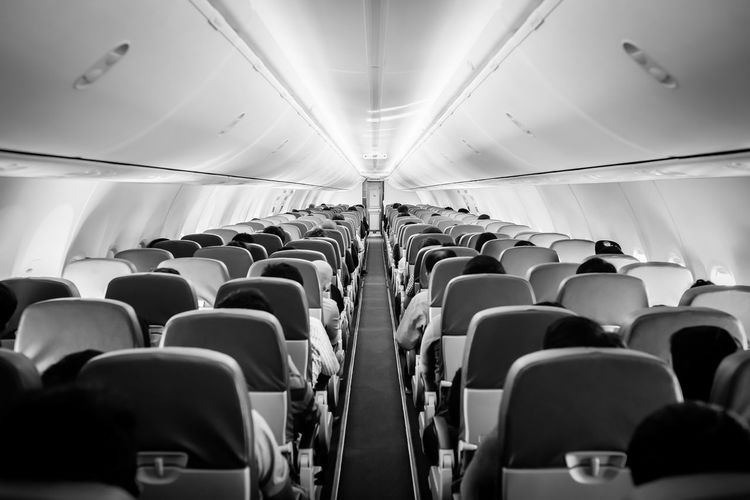 View of seats in airplane