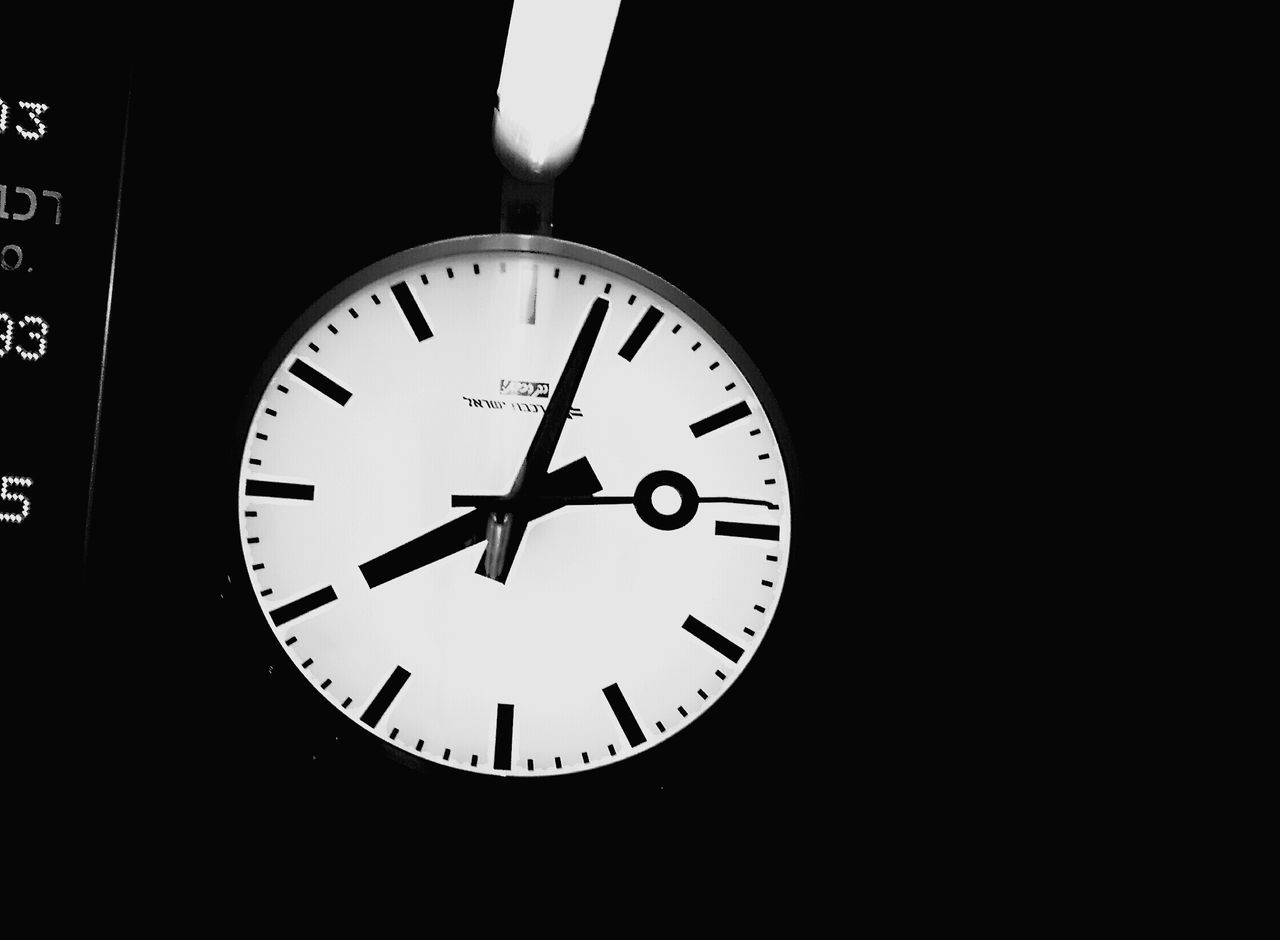 time, night, no people, indoors, black background, clock, minute hand, close-up, clock face