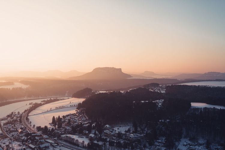 Lilienstein as seen from the Bastei Bastei Beauty In Nature Cold Temperature Day Fog Landscape Lilienstein Morning Mountain Mountain Range Nature No People Outdoors Saxon Switzerland Saxony Scenics Sky Snow Sunrise View Winter The Great Outdoors - 2017 EyeEm Awards Perspectives On Nature