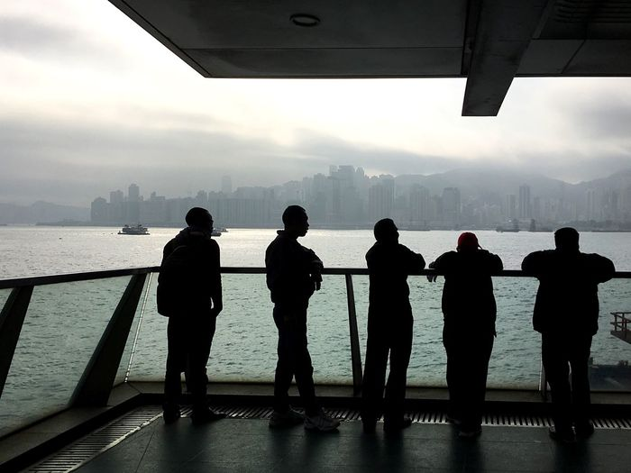 Sea Men Standing Silhouette Sky Water Lifestyles Mountain Scenics City Sunset Nautical Vessel Real People Togetherness Cityscape Day Nature IPhoneography Urban Skyline Light And Shadow Waterfront Victoria Harbour Cityscape Morning Sky Foggy Morning