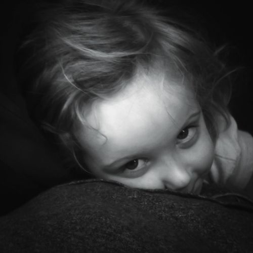 This is my youngest Daughter who hates being photographed. Blackandwhite Monochrome Sweet Family