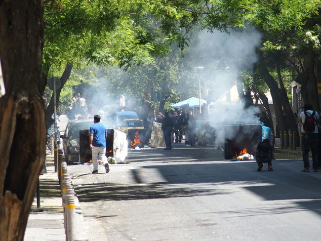 Demonstration in Athens, may 2015 Athens City City Life Demonstration Lifestyles May 2015 Medium Group Of People Protest Smoke Street