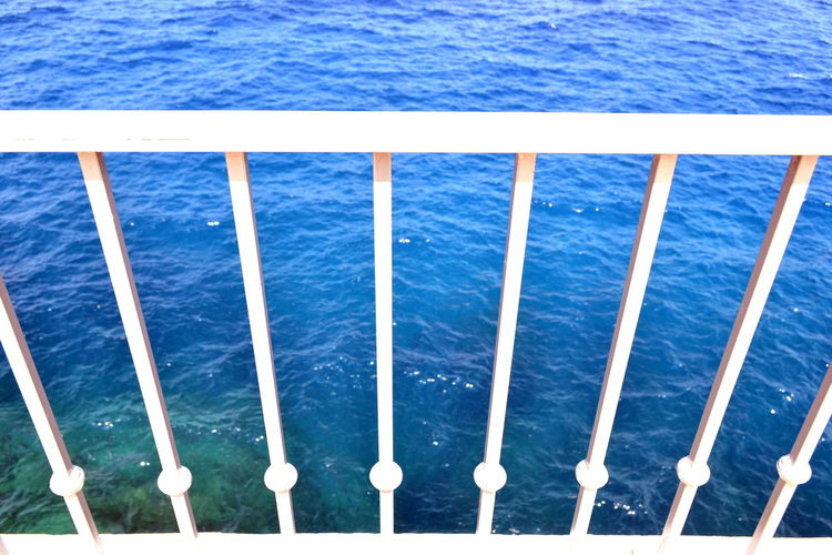 Mediterranean  Beauty In Nature Blue Close-up Day Full Frame Group Of Objects High Angle View Horizon Over Water Immensity Metal Nature Nautical Vessel No People Outdoors Railing Scenics - Nature Sea Seascape Side By Side Sunlight Transportation Water