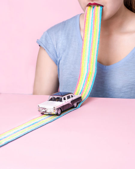 Car Composition Happiness Lips Pink Rainbow Rainbow Colors Red Lips Sitting Toys Woman Young Women Visual Trends SS16 - Bold Neons, Bright Pastels Fresh On Market 2018