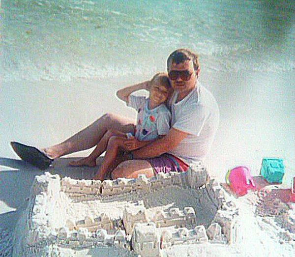 My husband and our oldest daughter Alicia at the beach in Florida.. Beach Vacation Time Memories Family❤
