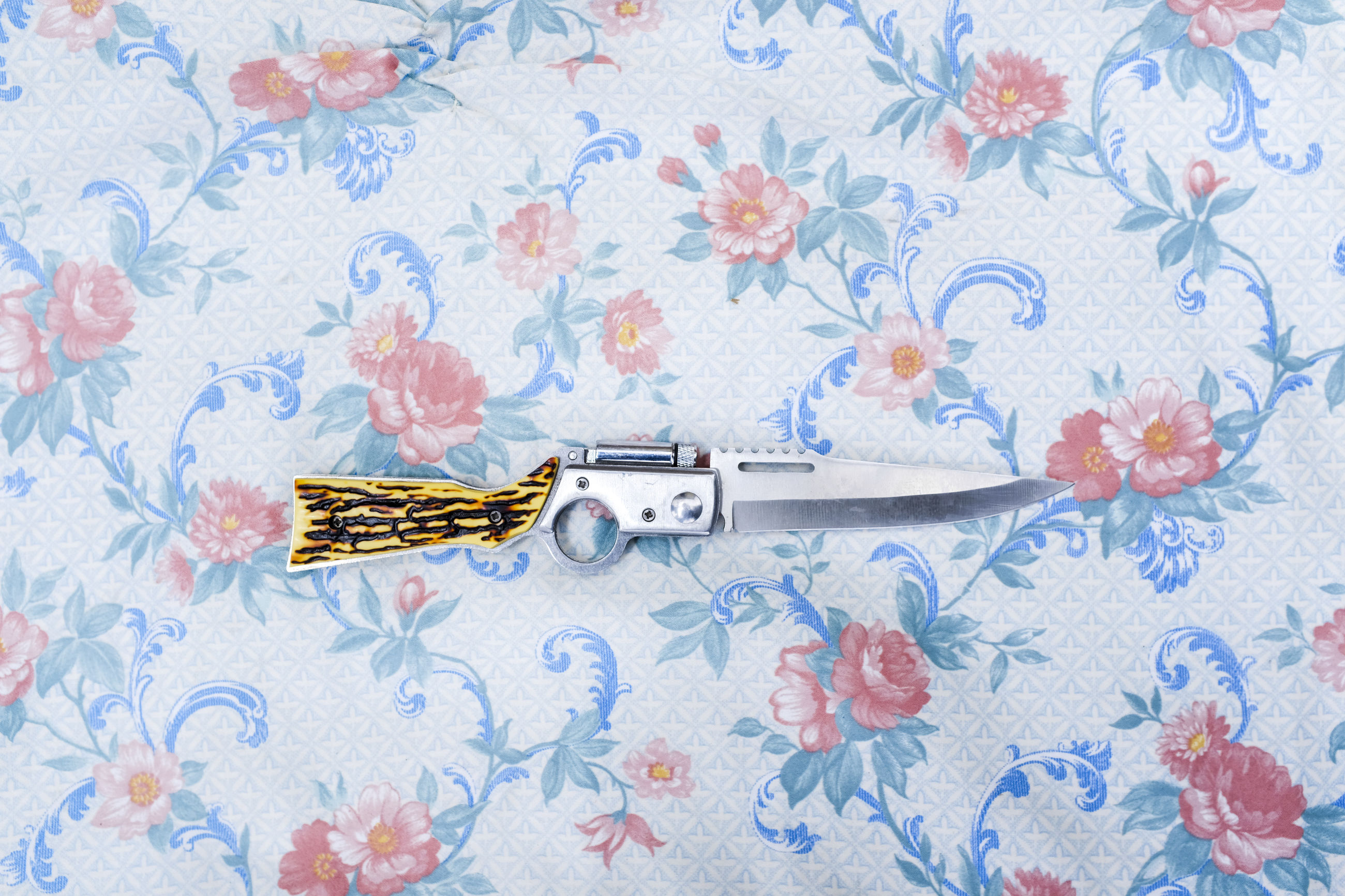 pattern, floral pattern, blue, indoors, no people, studio shot, wallpaper, close-up, flower, single object, textile, design, art and craft, flowering plant, domestic room, ornate, handgun, weapon, old, the past