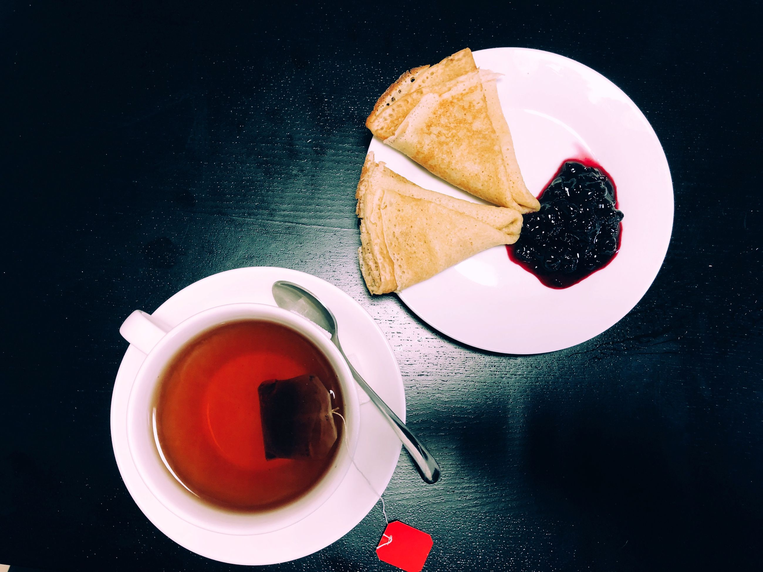 food and drink, refreshment, drink, freshness, table, still life, cup, food, coffee cup, sweet food, saucer, serving size, coffee - drink, plate, bread, high angle view, indoors, directly above, tea - hot drink, red, no people, breakfast, ready-to-eat, close-up, healthy eating, day