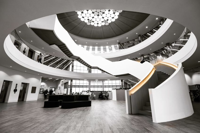 The word - South Shields -uk Blackandwhite Wide Shot Curves Curve Architecture_bw Architecture_collection Nikonphotography Nikon The Week On EyeEm Steps And Staircases Artistic Architecture Staircase Architecture Modern Railing Indoors  Built Structure Steps And Staircases Design Luxury Lobby Steps